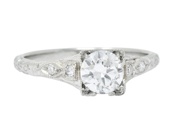 White Rose Jewelry Mfg. Co. Art Deco 0.78 CTW Diamond 18 Karat White Gold Engagement Ring GIA Ring Art Deco diamond Engagement GIA