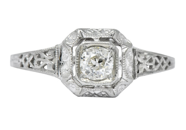 Whiterose Edwardian 0.23 CTW Diamond 18 Karat White Gold Solitaire Engagement Ring Ring