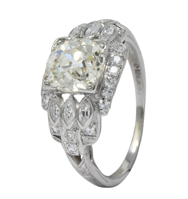 William B. Ogush Inc. Retro 2.05 CTW Diamond Platinum Engagement Ring - Wilson's Estate Jewelry