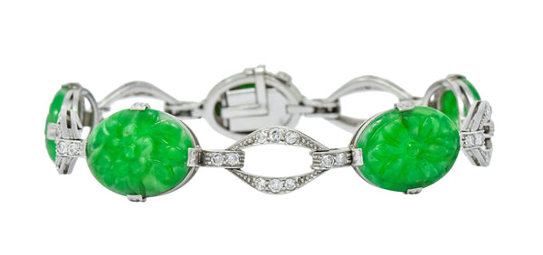 William Wise & Son Jade Diamond Platinum Link Bracelet Circa 1920s bracelet