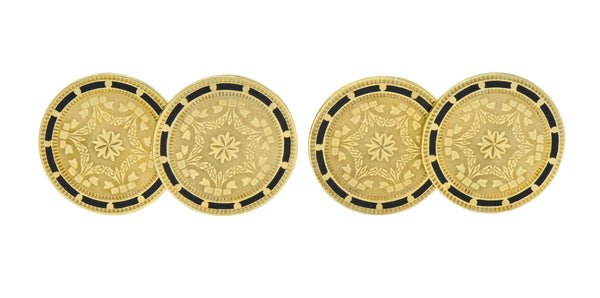 Wordley, Allsop & Bliss Enamel 14 Karat Gold Disk Men's Deco Cufflinks - Wilson's Estate Jewelry