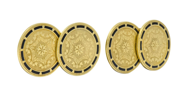 Wordley Allsop & Bliss Enamel 14 Karat Gold Disk Mens Deco Cufflinks Cufflinks