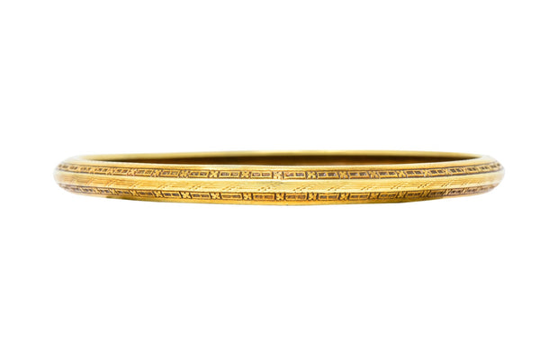 Wordley Allsopp & Bliss Art Deco 14 Karat Gold Engraved Bangle Bracelet bracelet