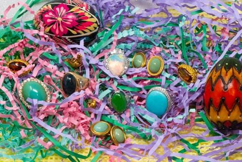 Easter Basket Vintage Jewelry Cabochon Rings