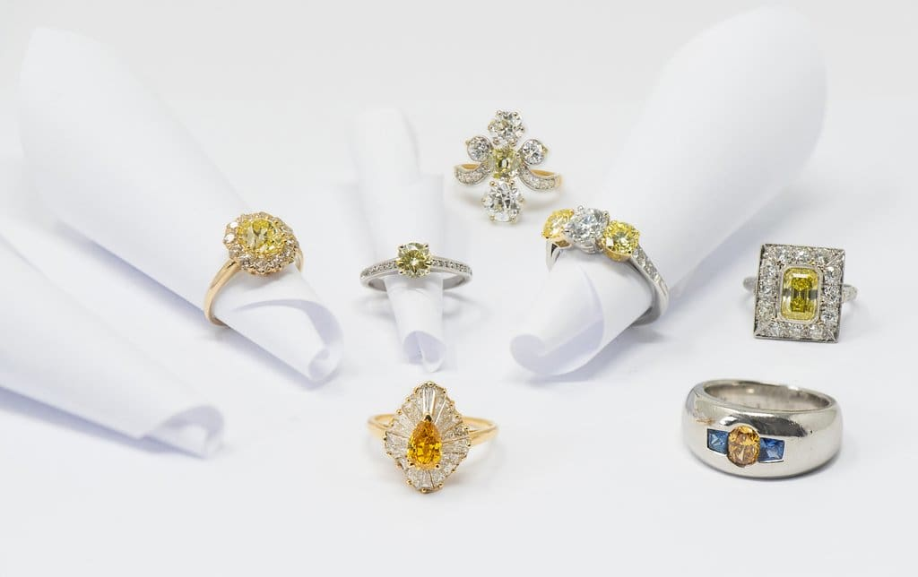 antique estate jewelry yellow diamond engagement rings