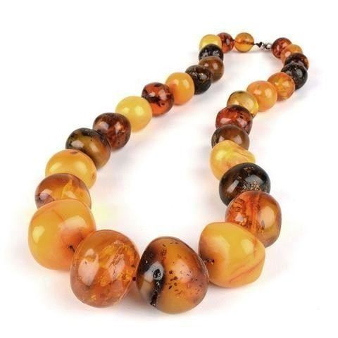 Organic Gemstone Amber Bead Necklace Vintage Jewelry