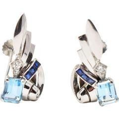 The history of Art Deco Jewelry Tiffany and CO. Diamond Earrings sapphire aquamarine