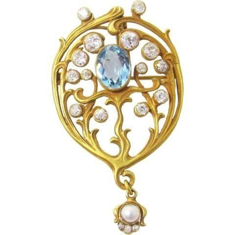 The History of Art Nouveau Jewelry aquamarine brooch