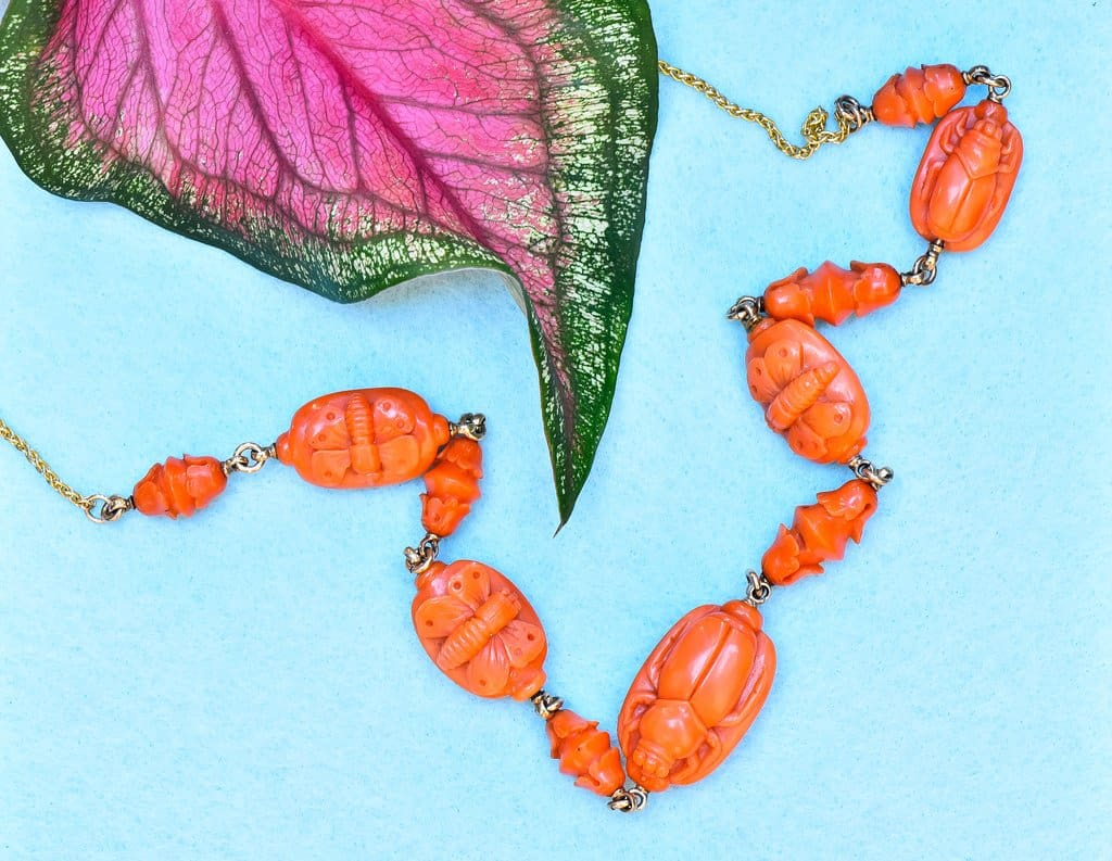Antique coral bug necklace butterfly scarab beetle victorian