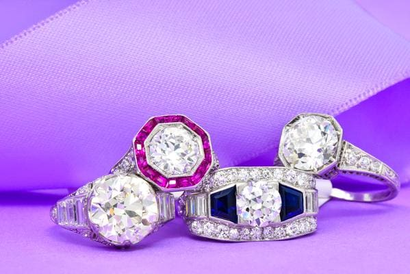 Different types of antique and diamond engagement rings