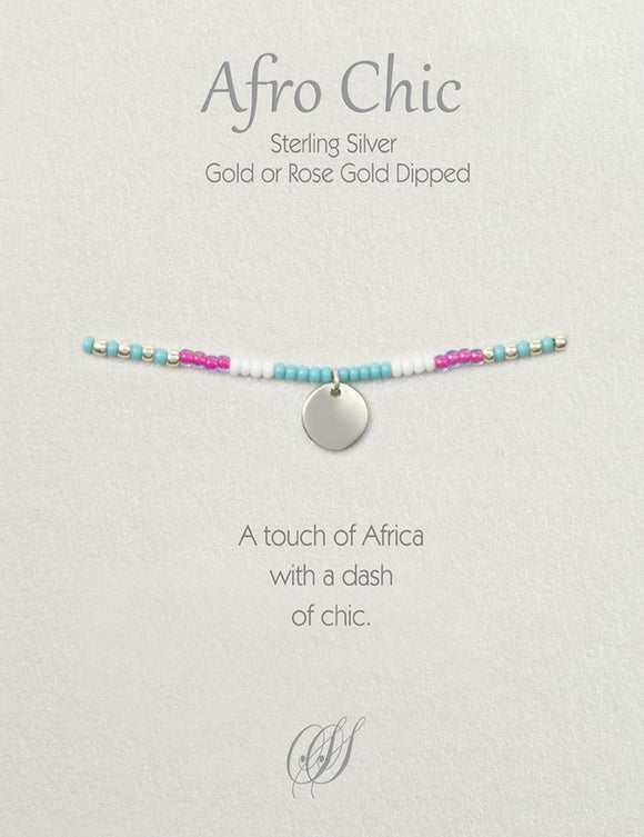 Afro-Chic - Turquoise, pink, white, silver
