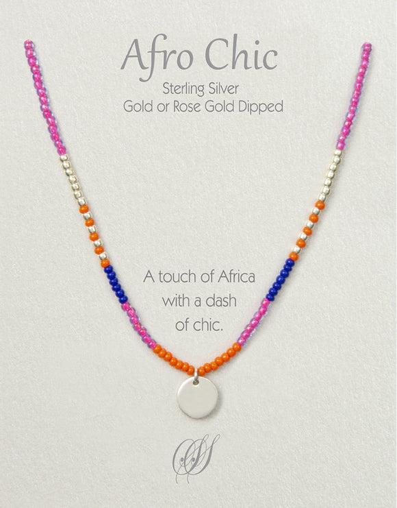 Afro-Chic - Orange, pink, blue, silver