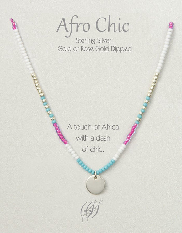 Afro-Chic - Pink, white, turquoise, silver