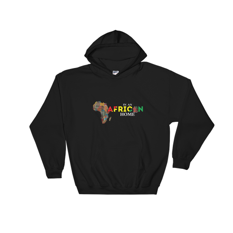 African Home on Black Hoodie