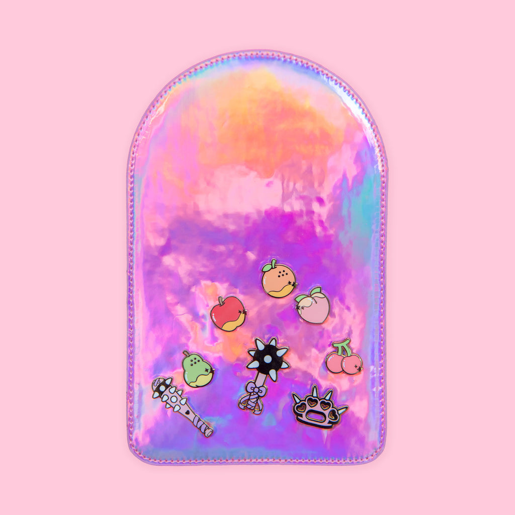 Holo pink pin insert with enamel pins