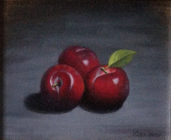 Red Plums in oil by Jeanne Leemon