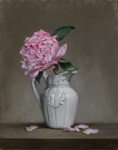 """Peony in White Pitcher "" by Jeanne Leemon"