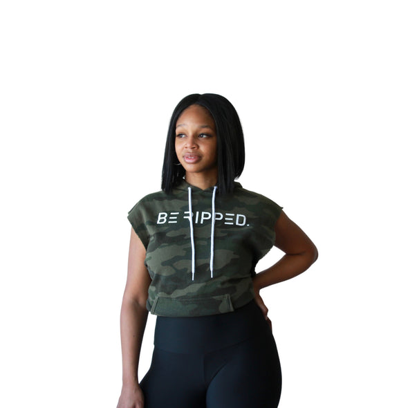 Unisex - Green Camo - Be Ripped Sleeveless Hoodie
