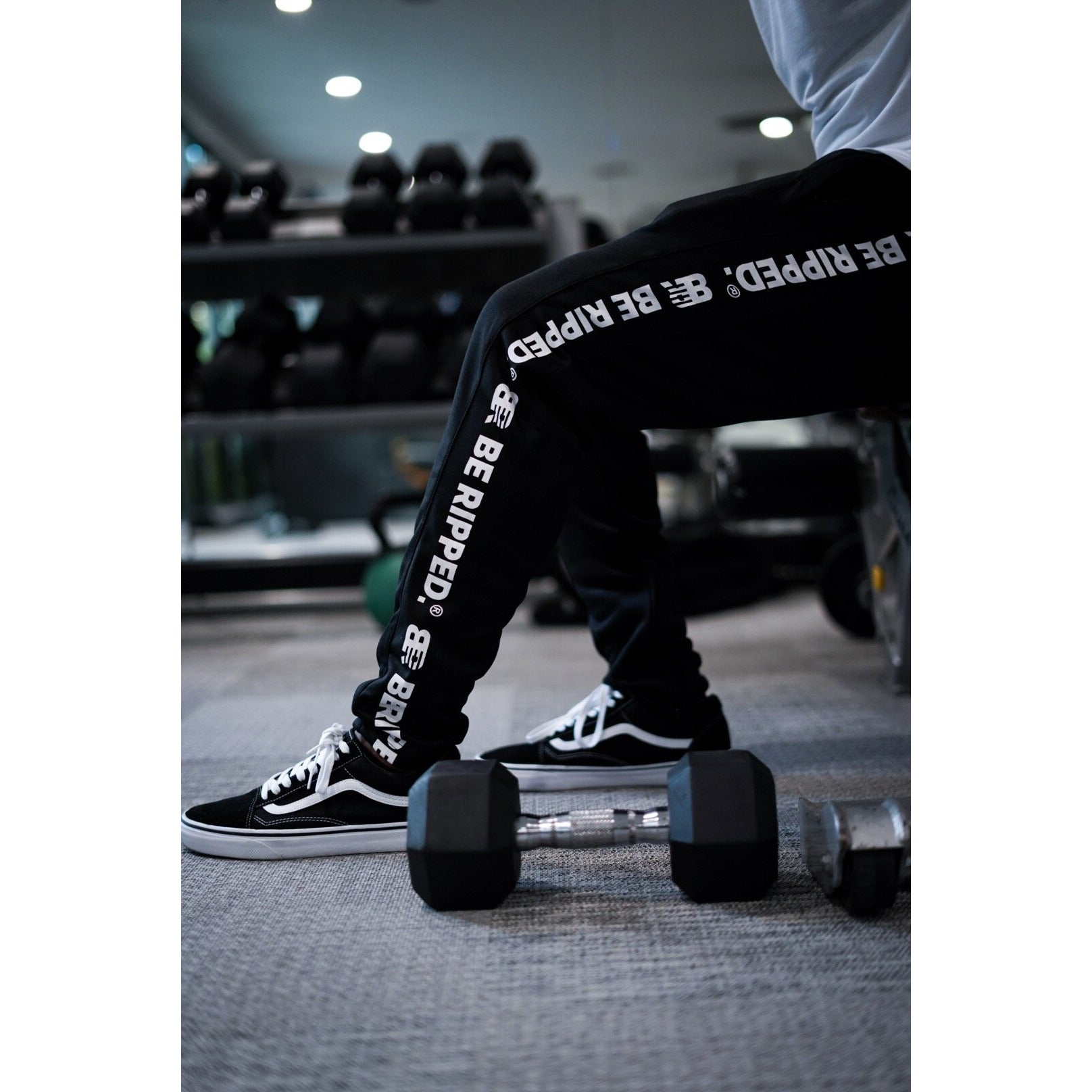 TRACK PANTS WITH BRANDED PANEL - BLACK