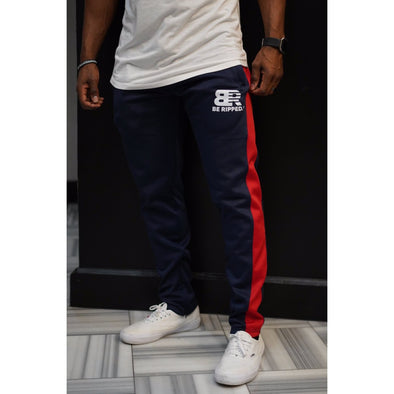 RED STRIPE SWEATPANTS - NAVY