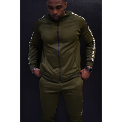 TRACK JACKET WITH BRANDED SIDE PANEL  - OLIVE