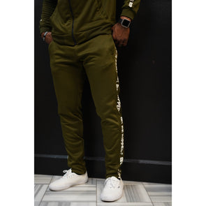 TRACK PANTS WITH BRANDED PANEL  - OLIVE