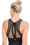 LASER CUT SEAMLESS SPORTS BRA - BLACK