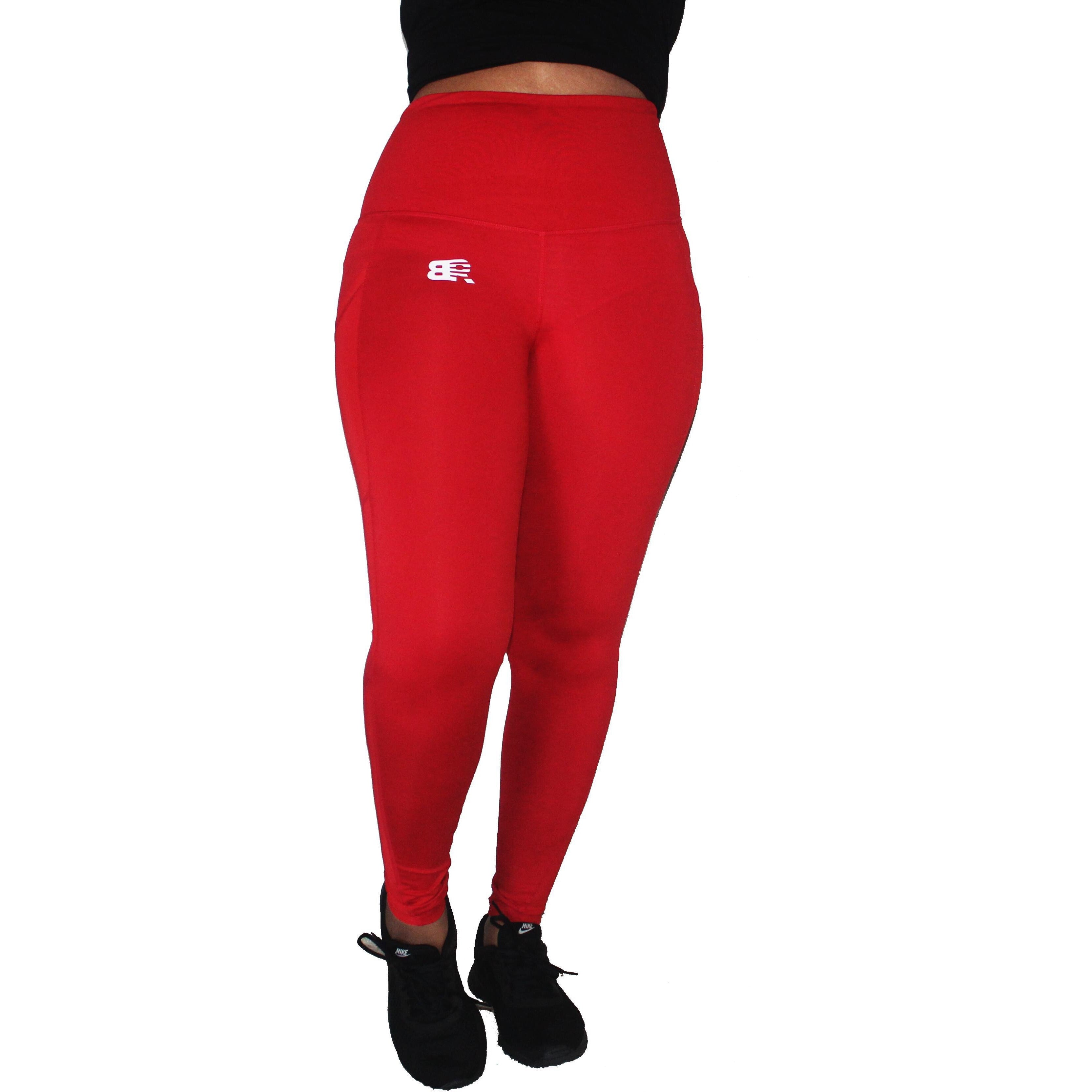 HIGH-WAIST LEGGINGS WITH MESH POCKET & BOW - RED
