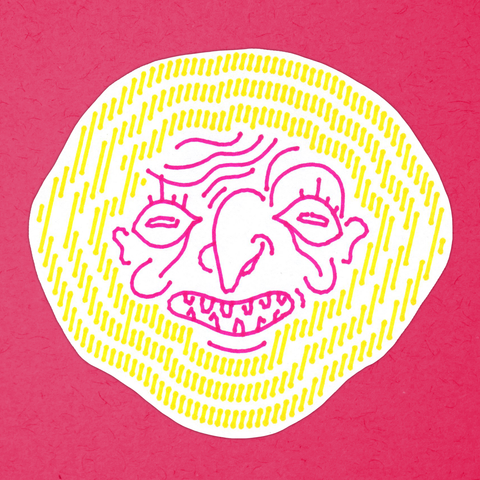 GRINNING FACE yellow-and-pink big sticker