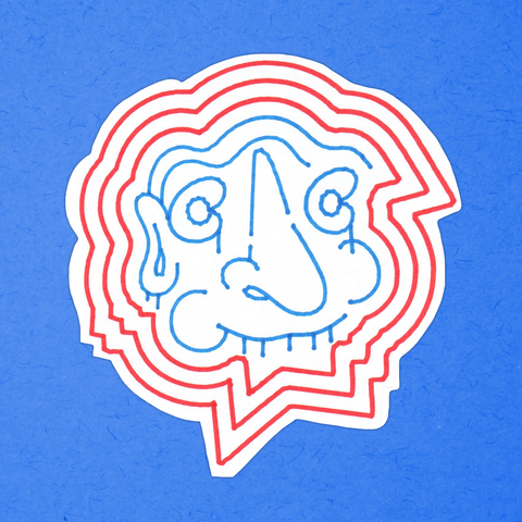 DROOLING FACE red-and-blue big sticker