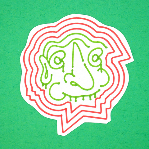 DROOLING FACE red-and-green big sticker