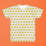 HAT FRIENDS yellow-on-white double-sided t-shirt