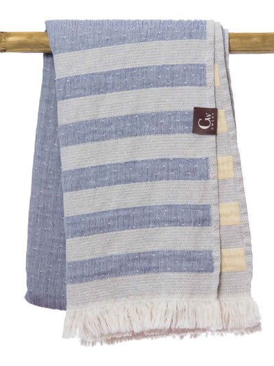 Gwery blue and yellow striped 100% cotton Portuguese beach towel