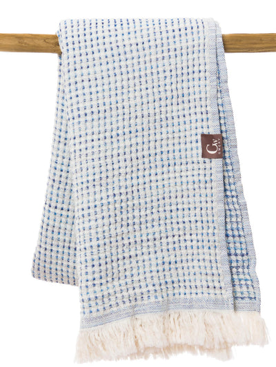 Gwery blue honeycomb 100% cotton Portuguese beach towel