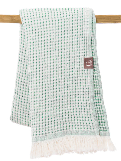 Gwery green honeycomb double-sided 100% cotton Portuguese beach towel