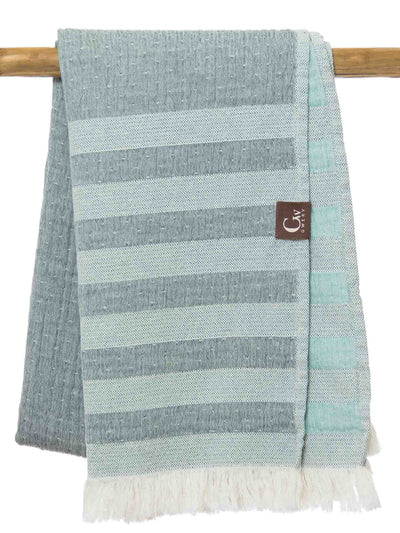 Gwery green striped double-sided 100% cotton Portuguese beach towel