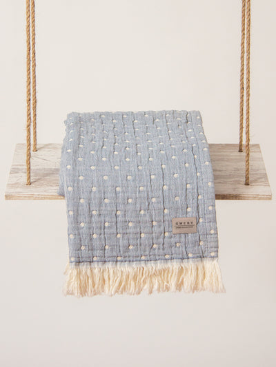 blue blanket dots cotton organic