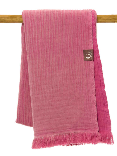 Gwery pink double-sided 100% cotton Portuguese beach towel