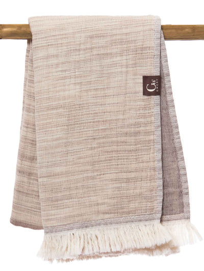 Gwery light brown signature double-sided 100% cotton Portuguese beach towel