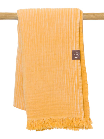 Gwery yellow double-sided 100% cotton Portuguese beach towel