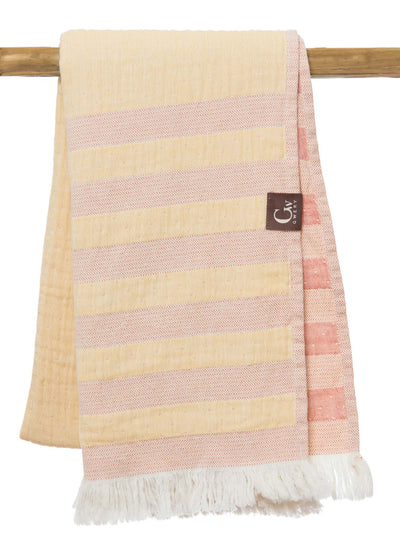 Gwery yellow and orange striped double-sided 100% cotton Portuguese beach towel
