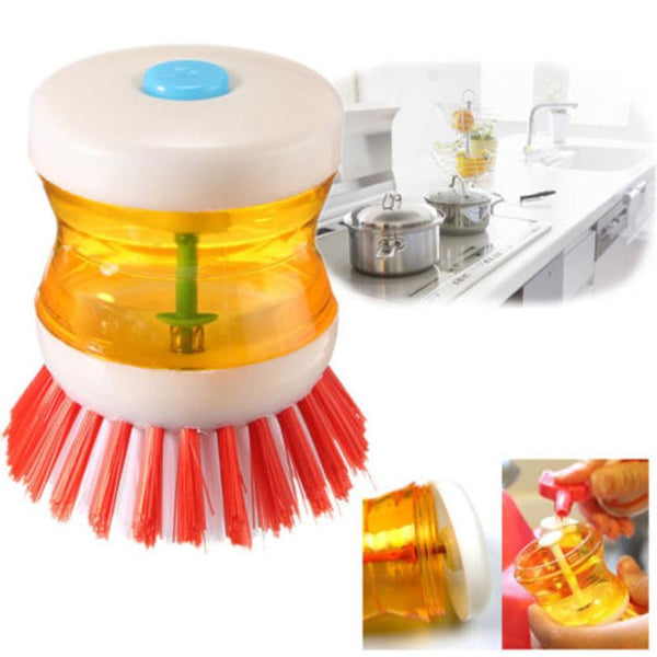 Dish Brush with Washing Up Liquid Soap Dispenser