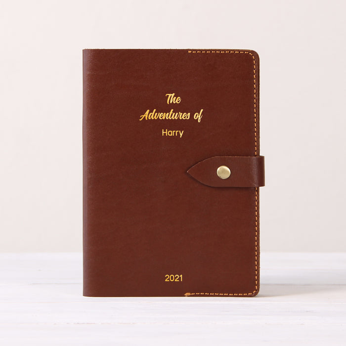 Refillable Leather Journal with Snap Button