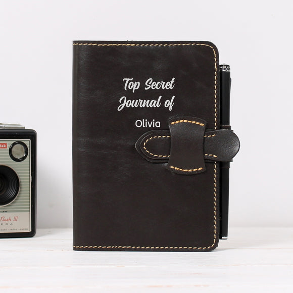 Flap Closure Refillable Leather Journal with Side Pocket and Pen Loop