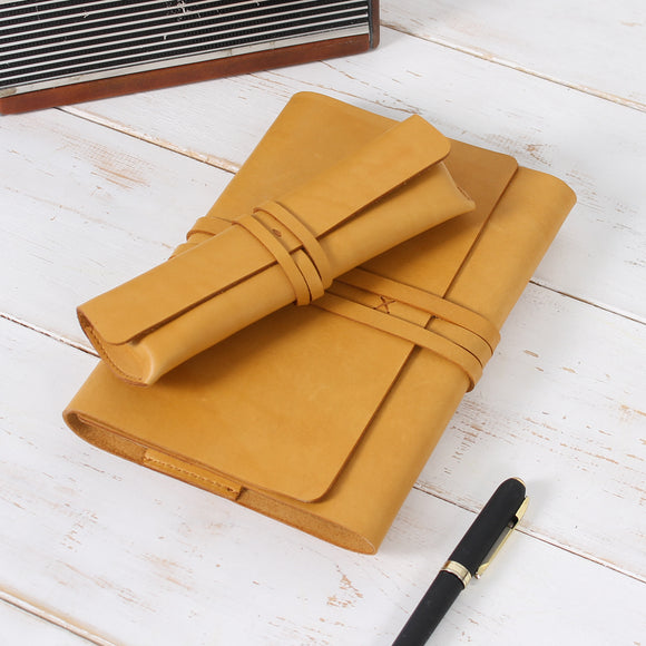 Vintage Wrap Set of Refillable Leather Journal and Pencil Case