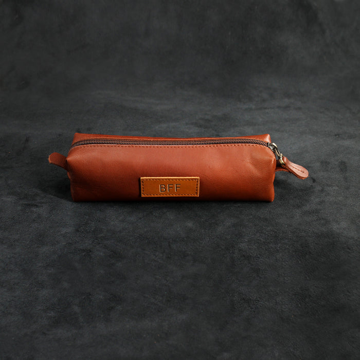 Minimal Zippered Leather Pencil Case