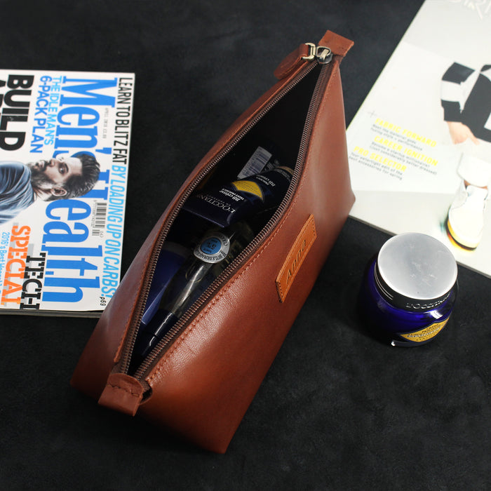 Minimal Leather Cosmetic Bag