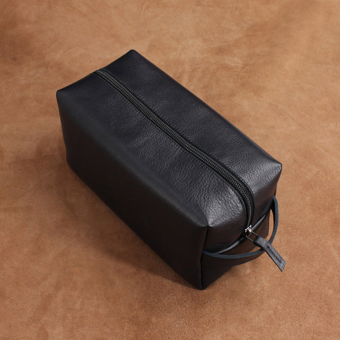 Minimal Goatskin Leather Cosmetic Bag(Plastic Zip) – Large