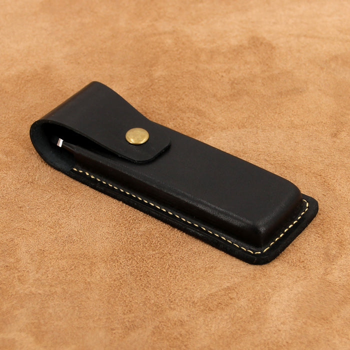 Leather Triple Pen Case with Snap Button for 3 Pens