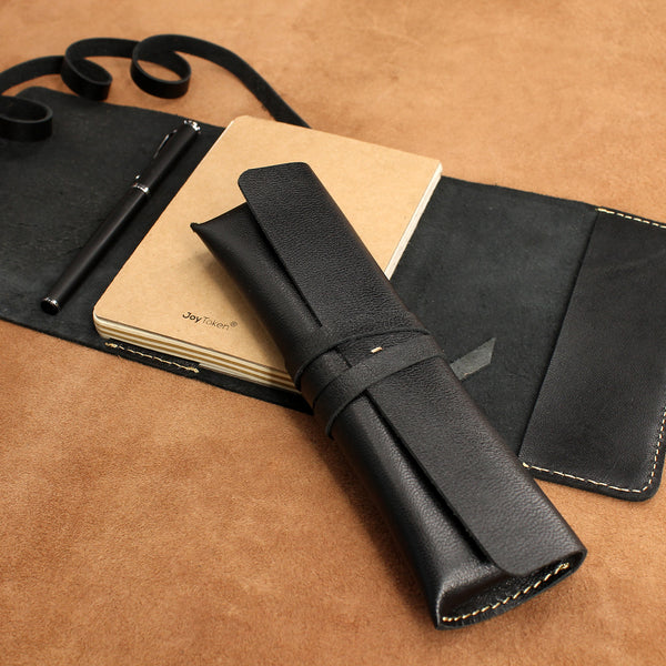 Vintage Wrap Set of Soft Leather Refillable Journal and Pencil Case